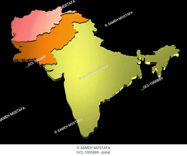 map of India, Pakistan and Afghanistan