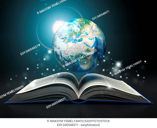 Earth and open book. Education internet e-'learning concept. 3d