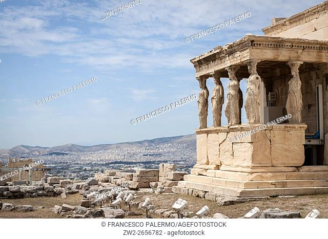 The Erechtheion an ancient Greek temple on the north side of the Acropolis. Athens, Central Athens. Greece
