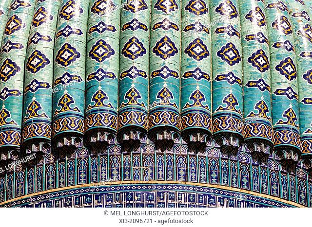 A dome of Bibi Khanym Mosque, also known as Bibi Khanum Mosque, Samarkand, Uzbekistan