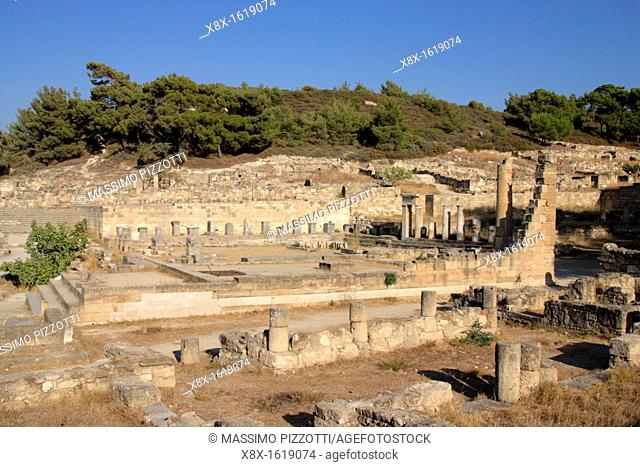 The ruins of the Doric temple in the ancient Kamiros, Rhodes Island, Greece
