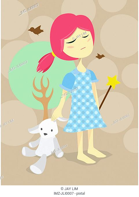 A little girl holding a stuffed animal and fairy wand