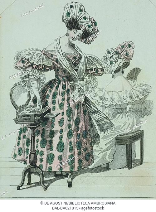 Woman wearing a pink dress with green Greek-pattern, short-puffed sleeves, gloves, adorned with lace, and a matching white and pink hat