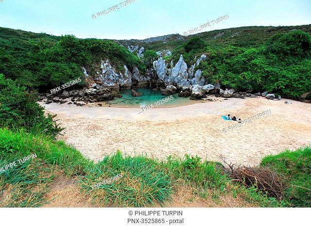 Spain. Catalonia. Llanes, Naves. Playa De Gulpiyuri