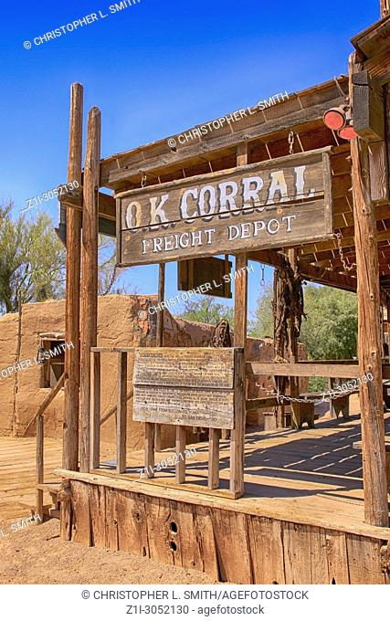 The OK Corral Freight Depot at the Old Tucson Film Studios amusement park in Arizona
