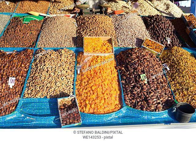 Fruits and nuts stall at Djemma el Fna square, Marrakech, Morocco