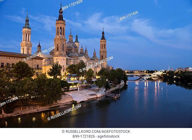 Basilica Cathedral Of Our Lady Of The Pillar River Ebro Zaragoza Aragon Spain