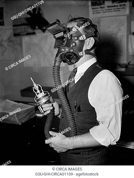 Man Testing New Sand-Blasting Mask, Washington DC, USA, circa 1936