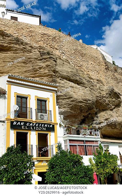 Typical landscape, Setenil de las Bodegas, Cadiz province, Region of Andalusia, Spain, Europe,