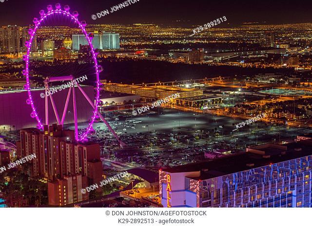 High Roller ferris wheel in Las Vegas at night from the Paris Casino resort hotel Eiffel Tower, Las Vegas, Nevada, USA