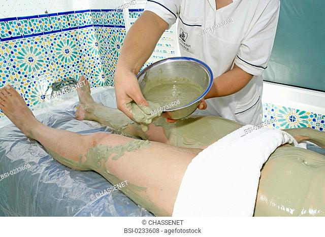 THALASSOTHERAPY Model. Center of thalassotherapy Alkantara Thalassa in Djerba Tunisia. Seaweed wrapping. The body will then be wrapped in a plastic wrap then...