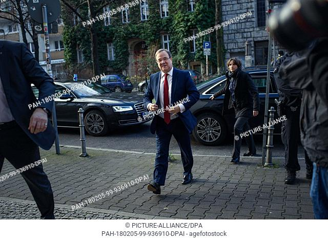 Armin Laschet (CDU), premier of North Rhine-Westphalia, arrives for coalition negotiations between the CDU, CSU and SPD parties at SPD headquarters...