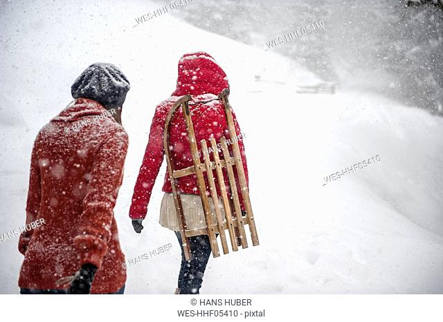 Two young women with sledges in heavy snowfall