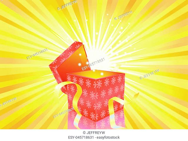 Vector illustration of an open Christmas gift with snowflake pattern on a bright yellow light background with light or sunrays