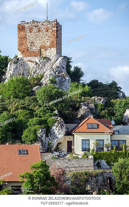 old brick tower on Kozi Hradek (Goat Hill) in Mikulov town, Moravia region, Czech Republic