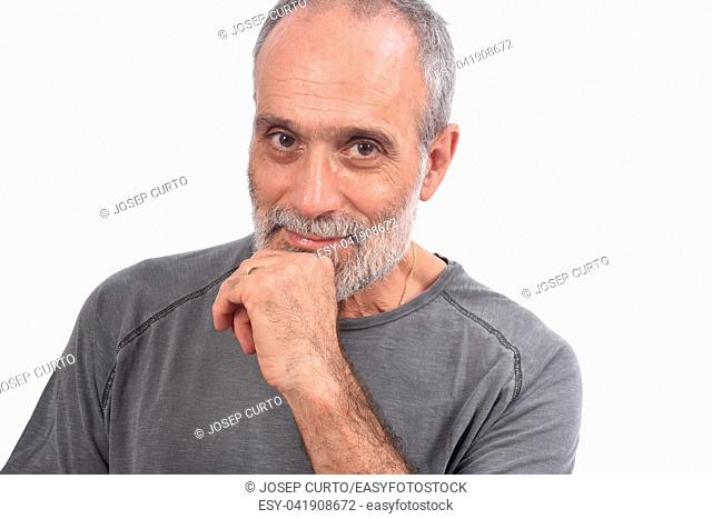 portrait of middle aged man on white