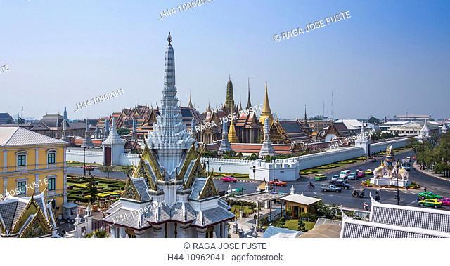 Thailand, Asia, Bangkok, Royal Palace, Wat Phra Kaew, architecture, colourful, colours, downtown, famous, history, image, palace, panorama, royal, skyline