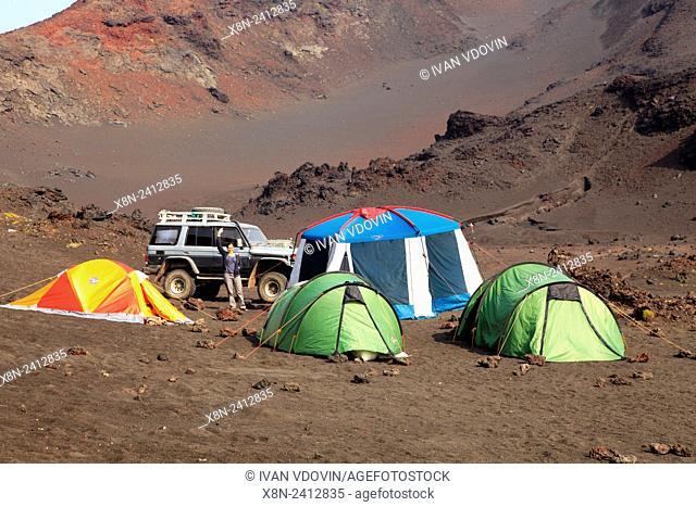 Tourist camp near Tolbachik volcano, Kamchatka Peninsula, Russia