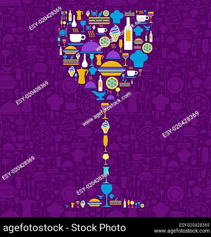 Restaurant icon set in wine glass shape