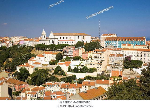 terracotta rooftops from castle of são jorge, lisbon, portugal