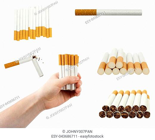set of cigarette in hand and pile isolated on white