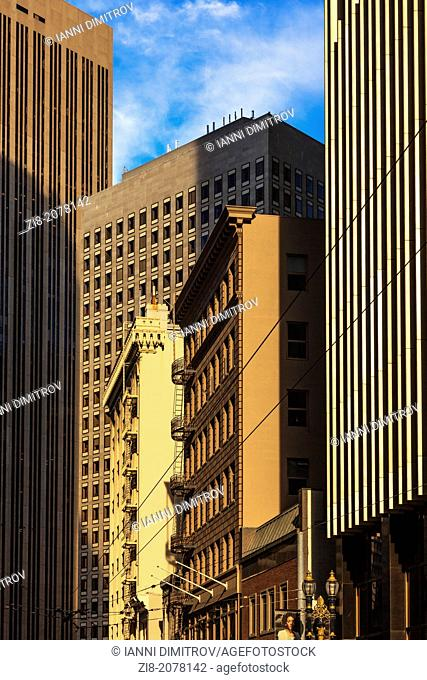 Old style office buildings and modern skyscrapers in the financial district,San Francisco,California