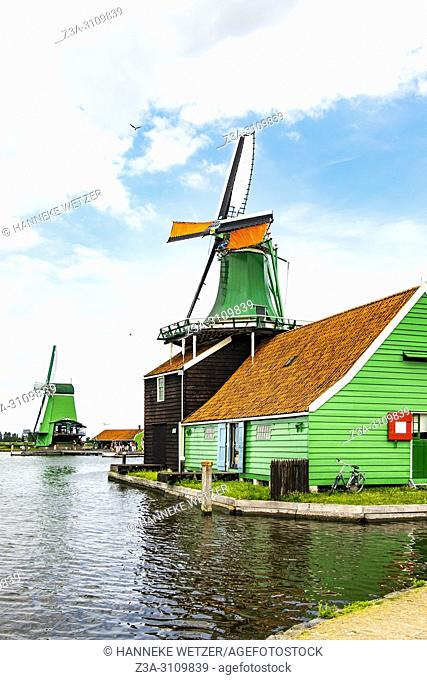 Traditional Dutch windmills at the Zaanse Schans, North-Holland, the Netherlands, Europe
