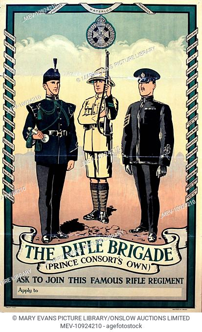 Interwar Period Recruiting - The Rifle Brigade (Prince Consort's Own), original poster printed by Gale & Polden circa 1933 - 87 x 56 cm