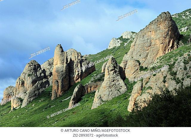 The Mallos. Riglos town, Huesca province, Spain