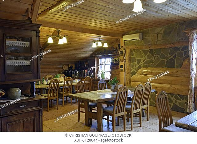 breakfast room, Bacowka Bialy Jelen hotel at Iwkowa village, Brzesko county, Malopolska Province (Lesser Poland), Poland, Central Europe