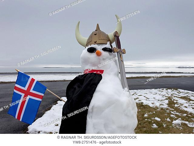 Snowman dressed as a Viking with an Icelandic flag, Seltjarnarnes, Reykjavik, Iceland