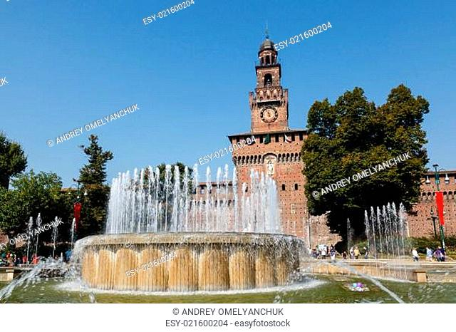 The Fountain and Sforzesco Castle in Milan, Lombardy, Italy