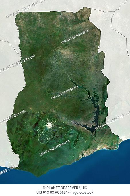 Satellite view of Ghana (with country boundaries and mask). This image was compiled from data acquired by Landsat satellites
