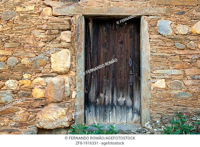 Door of old house at Castelo Branco, Portugal