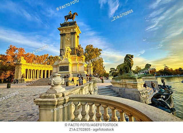 Monument to Alfonso XII, located at The Buen Retiro Park. Madrid. Spain