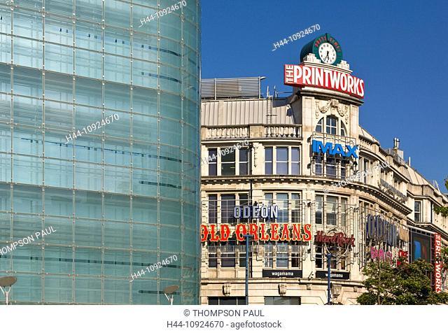 Manchester, Urbis, Printworks, city, city centre, attraction, England, shopping centre, cinema, Imax, UK, Lancashire, United Kingdom, Great Britain, nobody