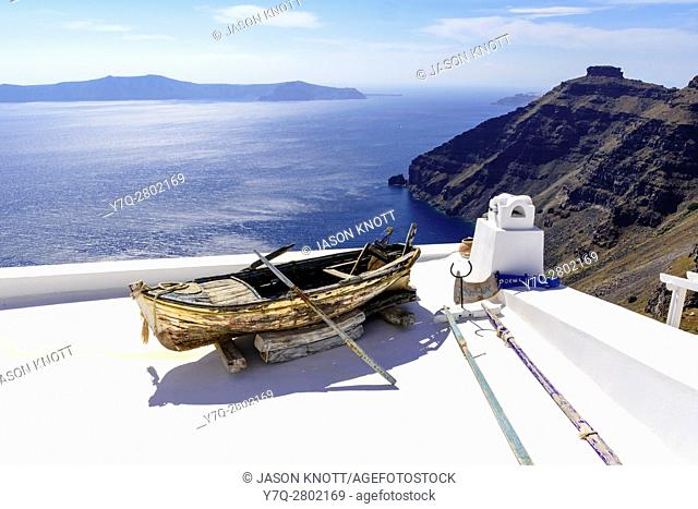 Hotel rooftop art overlooking the caldera, Firostefani, Santorini, Cyclades, Greece
