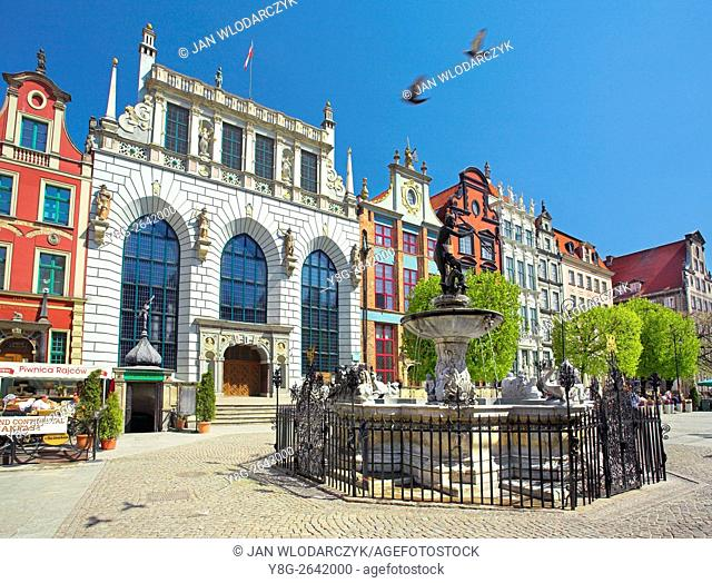 Artus Court with Neptune Fountain at the Long Market, Gdansk, Poland