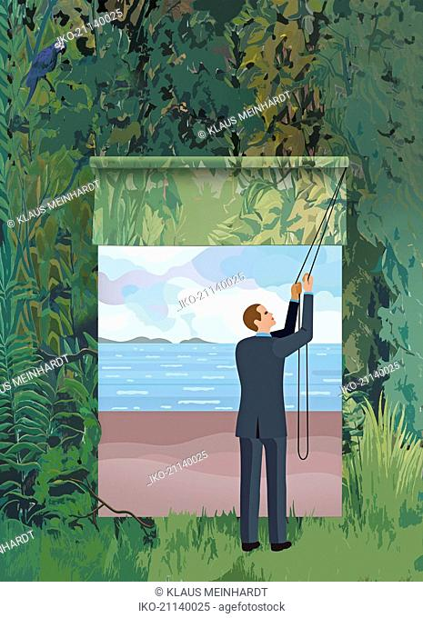 Businessman opening blind revealing window to tranquil beach in dense forest