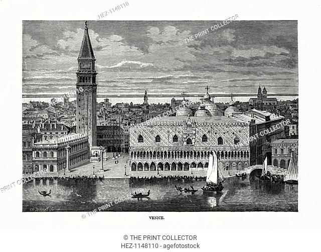 'Venice', Italy, 1879. View of the Doge's Palace and the Campanile, with the domes of St Mark's Cathedral beyond