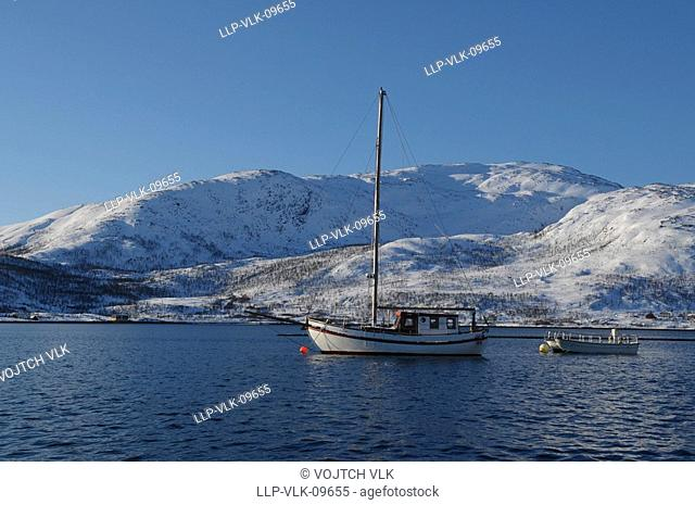 The snow-covered landscape in Kvaloya - north Norway