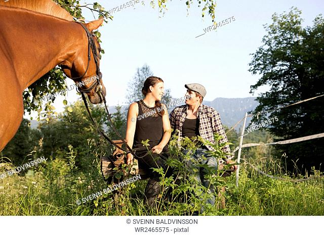 Couple dating on rural pasture with horse in foreground