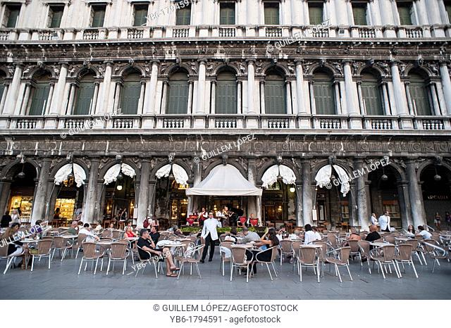 A view of the Terrace of the Cafe Florian in St  Mark's Square, Venice, Italy