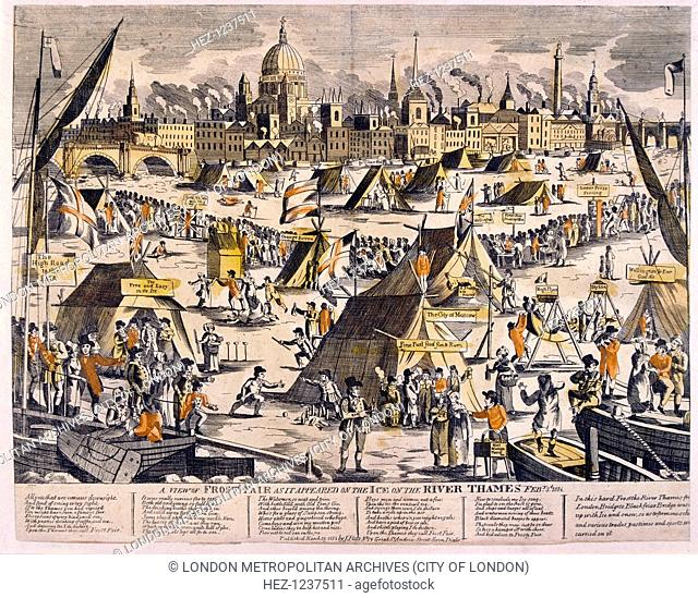 View of a frost fair on the River Thames in 1814, copperplate and letterpress printers can be seen at work on the ice and in the foreground a hot mutton pie...