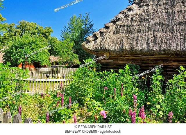 Museum of Agriculture in Ciechanowiec, Podlaskie voivodeship, Poland. Wooden cottages, garden, mill, church and other devices used to use by Pollish farmers