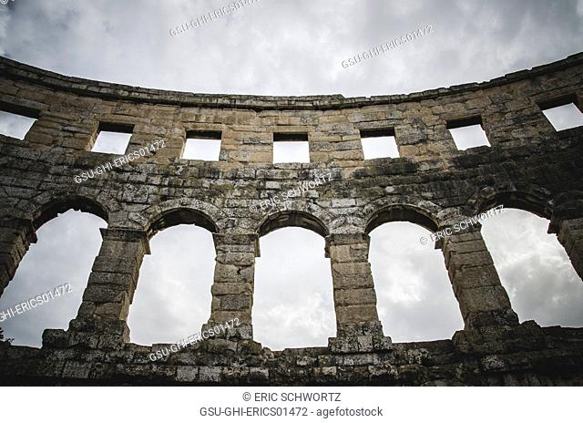 Detail of Ancient Roman Amphitheatre in Pula, Croatia