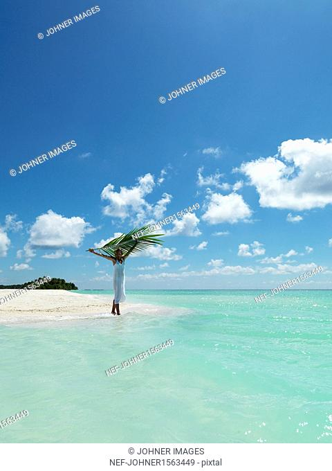Woman holding palm leaf on tropical beach