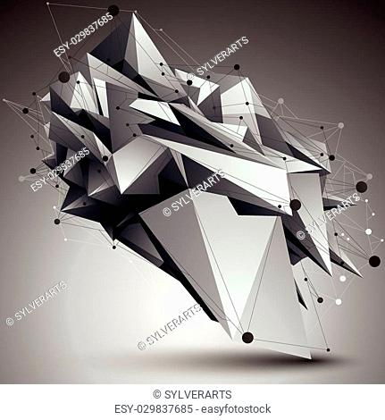 3D mesh contemporary style abstract object, origami futuristic form with lines mesh