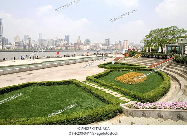 The Bund skyline from Pudong Binjiang Avenue, Shanghai, China