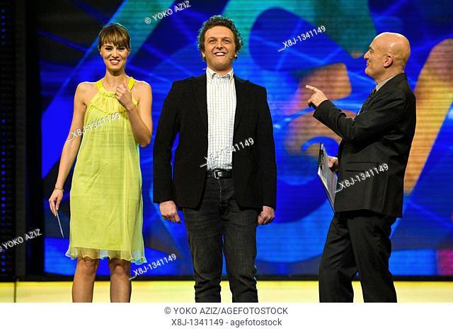 08 02 2011, Milan, Zelig telecast  Antonio Ornano with Claudio Bisio and Paola Cortellesi